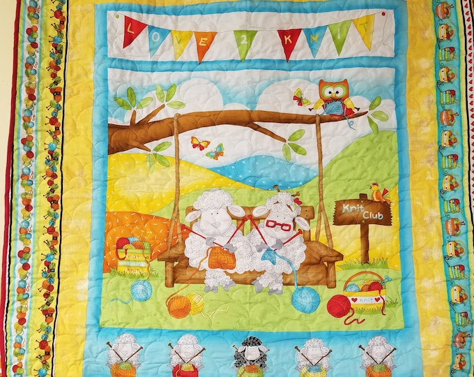 Handmade Knitting Sheep Quilt, Homemade Beautiful Quilted Wall Hanging, Throw, or Lap Quilt