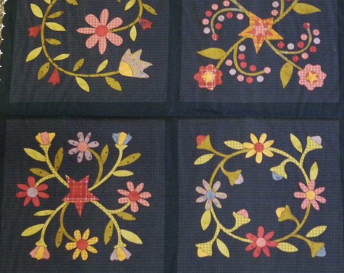 Floral Quilt Panel, Black Primitive Quilt Panel, Fabric Panel, Quilt Fabric, Flannel