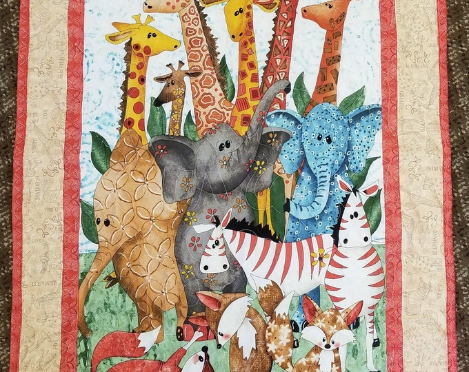 Safari Animal Baby Quilt, Cute Playful Baby Blanket
