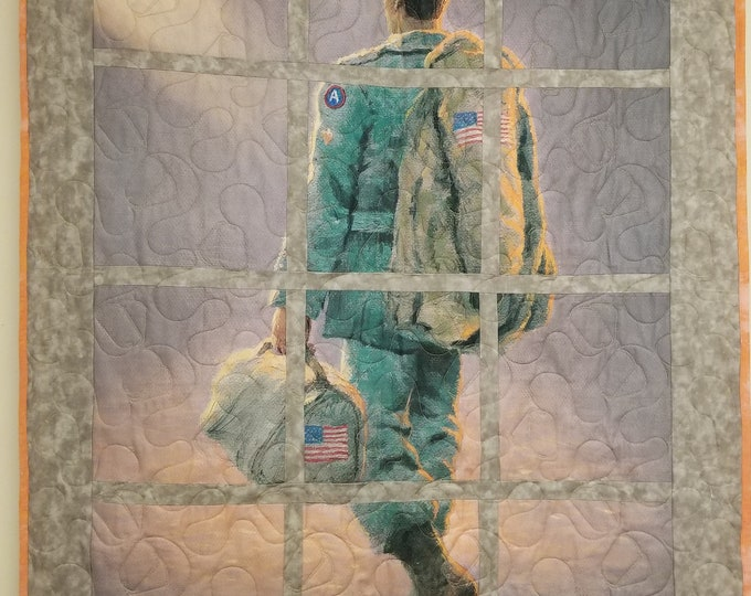 "American Soldier Homemade Quilt, Beautiful, Handmade Quilt, 37"" x 50"""
