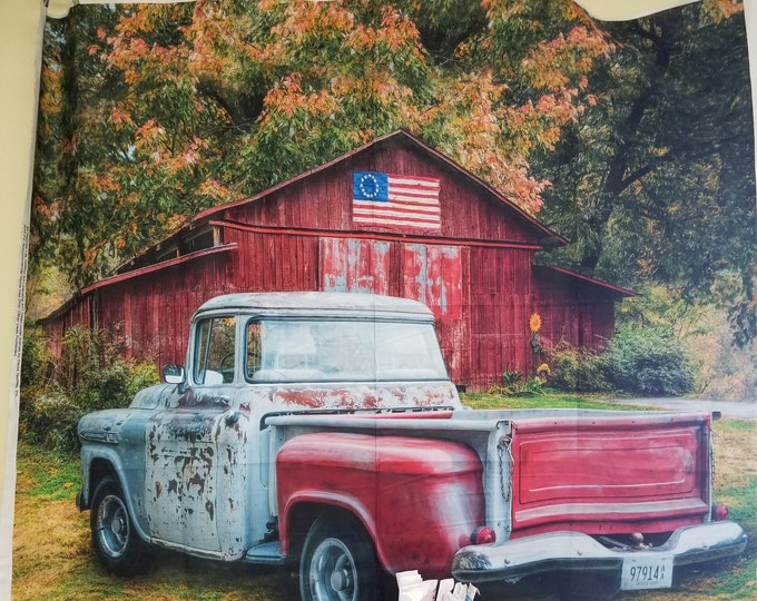 Classic Truck Fabric Panel, Antique Farm Truck Quilt Panel