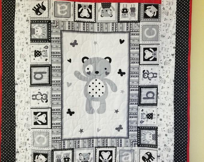 """Baby Bear Homemade Quilt, Beautiful, Handmade Quilt, 40"""" x 55"""""""
