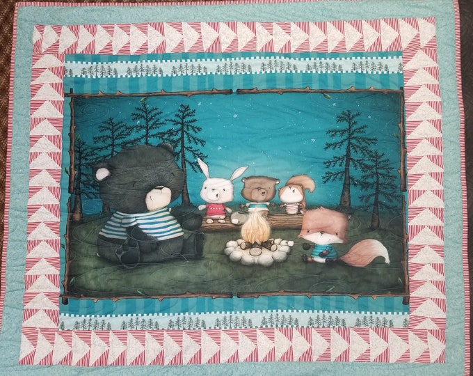 "Campfire Friends Homemade Quilt, Beautiful, Handmade Forest Friends Quilt, 52"" x 44"""