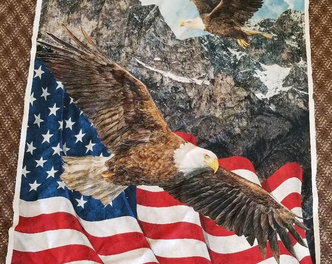 American Bald Eagle and US Flag Quilt Panel, Fabric Panel