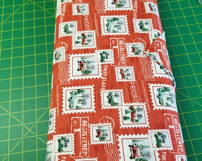 Christmas Antiue Truck and Stamp Quilt Fabric,  Holiday Heartland Fabric