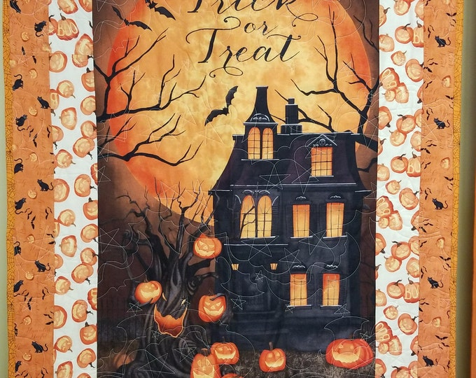 "Homemade Haunted Halloween Quilt, Beautiful, Handmade Trick or Treat Quilt, 36"" x 61"""