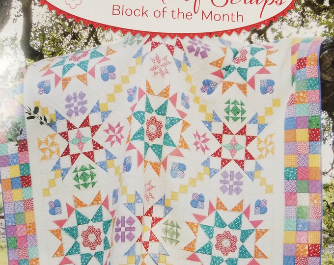 Aunt Grace Basket of Scraps Quilt Kit, Block of the Month King Size Quilt Kit