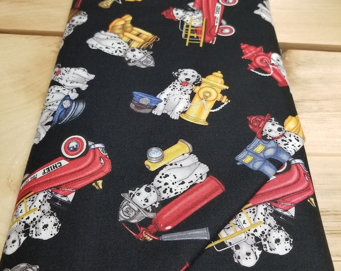 Firetrucks and Dalmations Quilt Fabric, Puppy dog Fabric