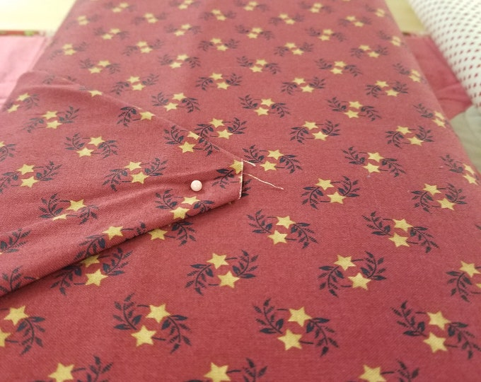 Red and Tan Stars Quilt Fabric, Freedom Bound Fabric, Patriotic Fabric