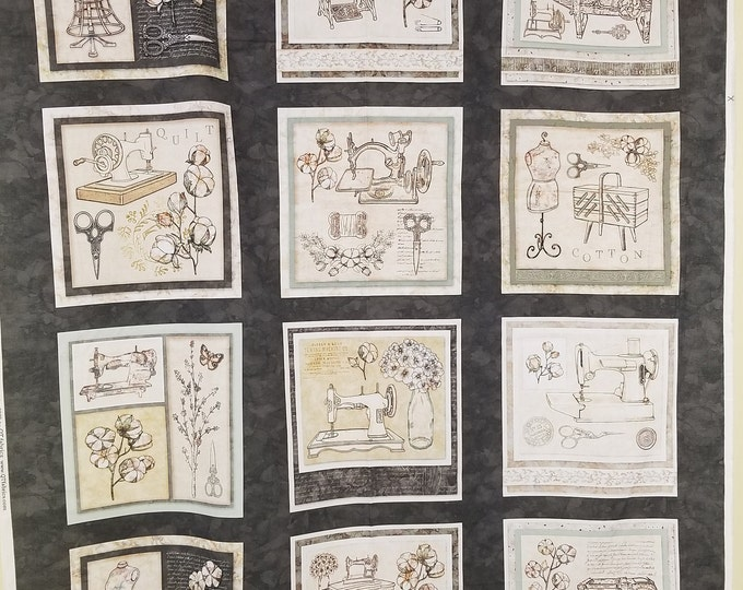 Vintage Sewing Quilt Panel Antique Sewing Machine Fabric Panel