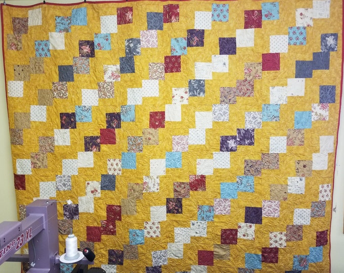 Handmade Falling Charms Quilt, Homemade Beautiful Quilted Queen, Throw, or Lap Quilt