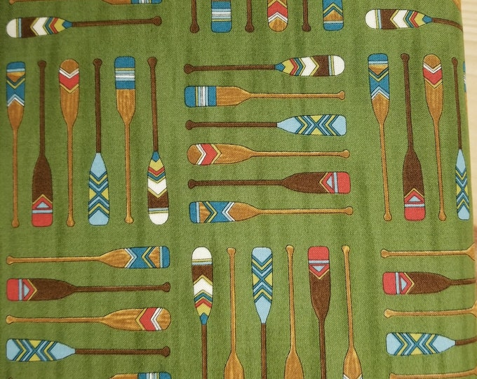 Camping Boat Oar and Canoe Quilt Fabric, Boat Oar Fabric