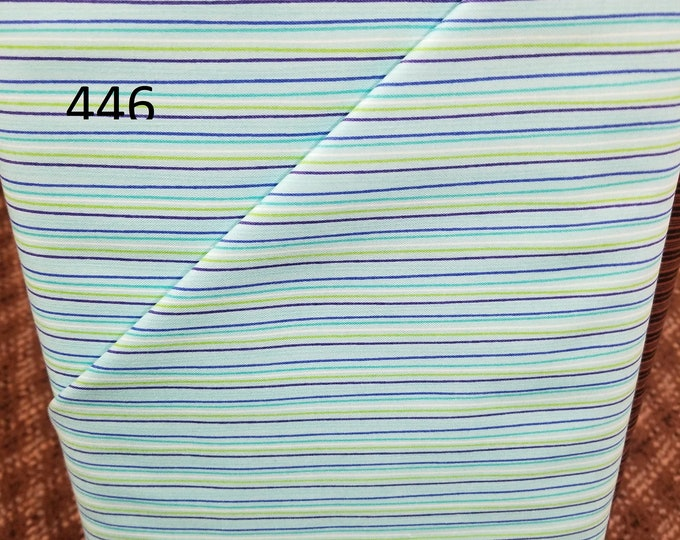Stripe Style Fabric, Cut to order fabric, Blue, Green, Brown, Black, Red 446-459