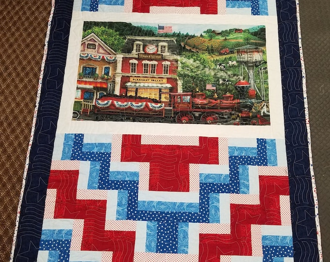 "Handmade Patriotic Trian Quilt, Homemade Beautiful Quilted Wall Hanging, Throw, Lap or Twin Sized Quilt, 74"" x 50"""