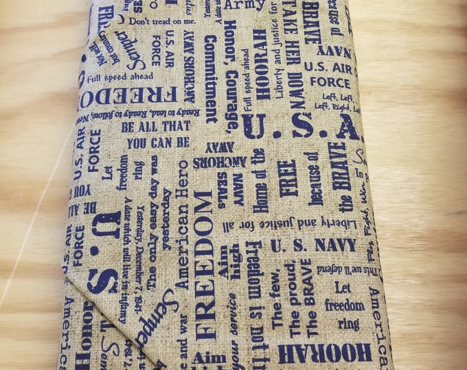 Because of the Brave Quilt Fabric, US Armed Forces fabric