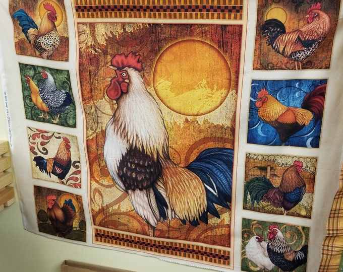 Rooster Fabric Panel, Chicken Quilt Panel