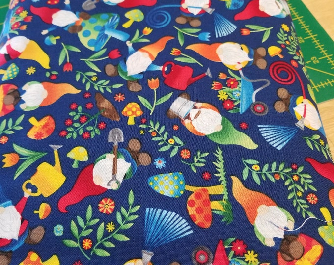 Gnome Quilt Fabric, Garden Gnome Fabric
