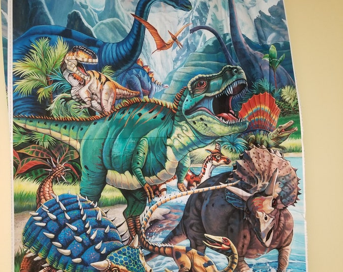 Dinosaur Quilt Panel, Realistic Dino Fabric Panel