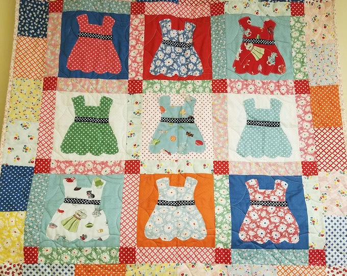 Handmade Come Out and Play Dress Quilt, Homemade Beautiful Quilted Wall Hanging, Throw, or Lap Quilt