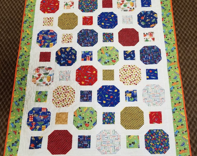 "Handmade Childrens Construction Lap Quilt, Homemade Beautiful Quilted Wall Hanging or Throw, 81"" x 63"""
