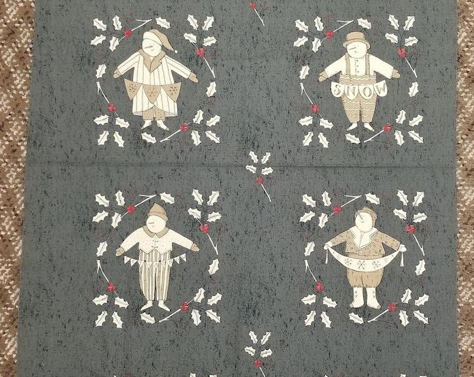 Snowmen Fabric Panel, Vintage Looking Snowman Quilt Panel