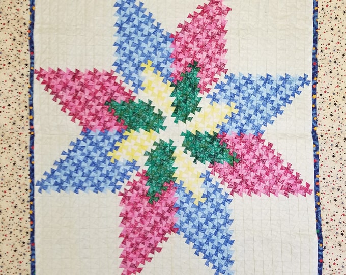 """Twisted Star Wall Hanging, Lap Quilt, Decorative Throw, Handmade Wall Hanging, Homemade, 40"""" x 37"""""""