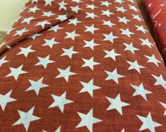 Red & White Star Quilt Fabric, USA Flag fabric, Live Free, Pride and Honor