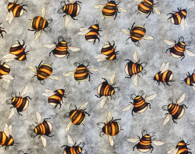Bumblebees Quilt Fabric, Bee Fabric By the Yard