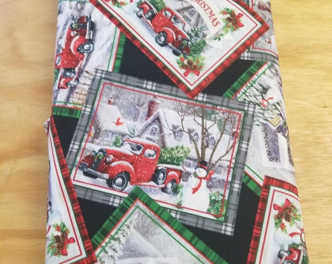 Christmas Cards Quilt Fabric, Antique Truck, Wintertime Fabric