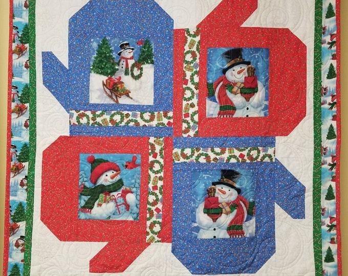 """Frosty and Friends Homemade Quilt, Handmade Snowman Quilt, 42"""" x 42"""""""