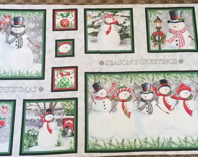 Snowmen Fabric Panel, Snowman Quilt Panel