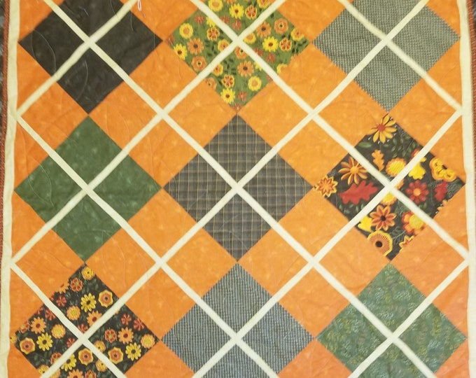 """Fall Lap Quilt, Seasonal Quilts, Quilted Wall Hanging, Decorative Throw, 39"""" x 39"""""""
