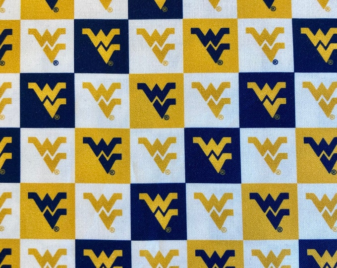 WVU Themed Quilt Fabric, West Virginia University Fabric By the Yard