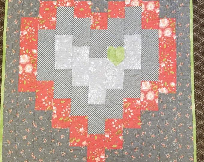 """Big Heart Homemade Quilt, Beautiful, Handmade Heart Quilt, 31"""" x 46"""""""