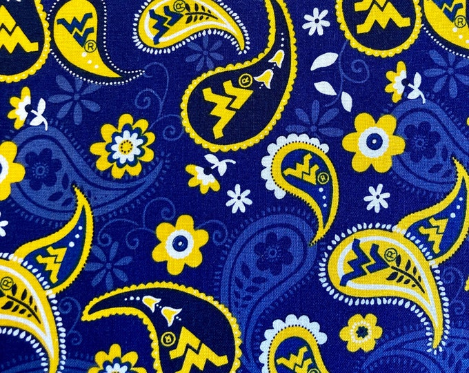 WVU Paisley Quilt Fabric, West Virginia University Fabric By the Yard