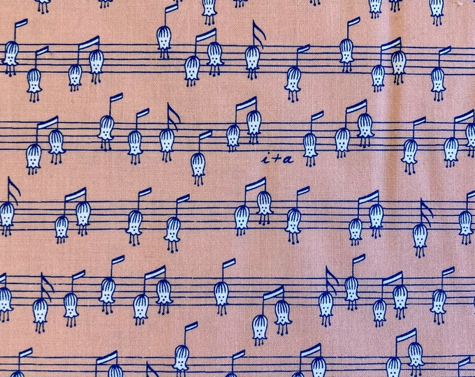 Musical Flowers Quilt Fabric, Floral Music Notes Fabric By the Yard