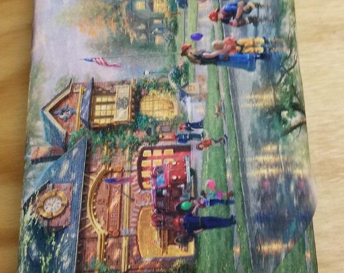 Hometown Firehouse Quilt Fabric, Thomas Kinkade fabric