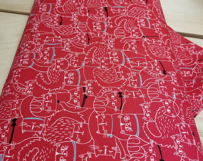 Red Cats Quilt Fabric, Kitten Fabric