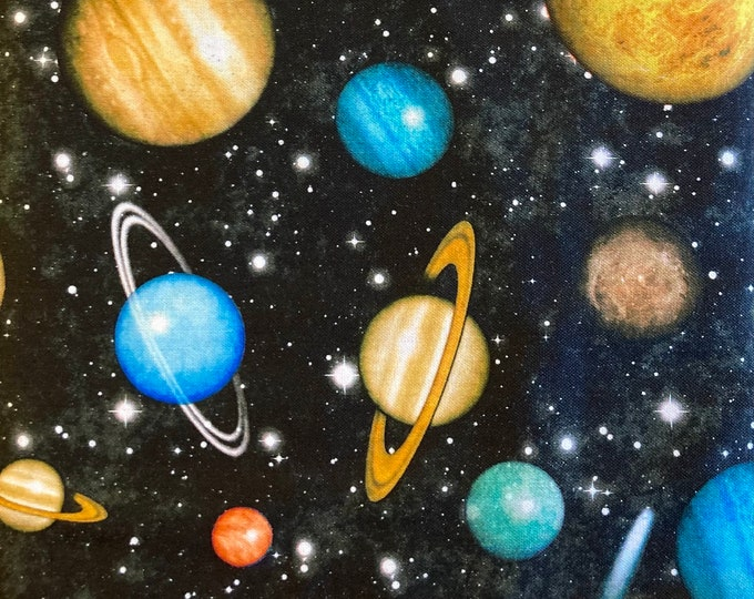 Intergalactic Quilt Fabric, Space and Planets Fabric By the Yard