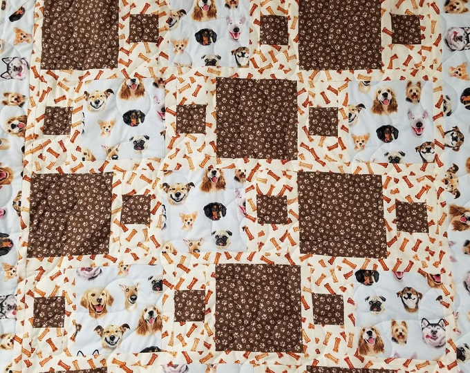 """Handmade Dog Quilt, Homemade Lap Quilt, Quilt for Sale, Puppy Lovers Quilt, Cute Dog Quilt, 55"""" x 42"""""""