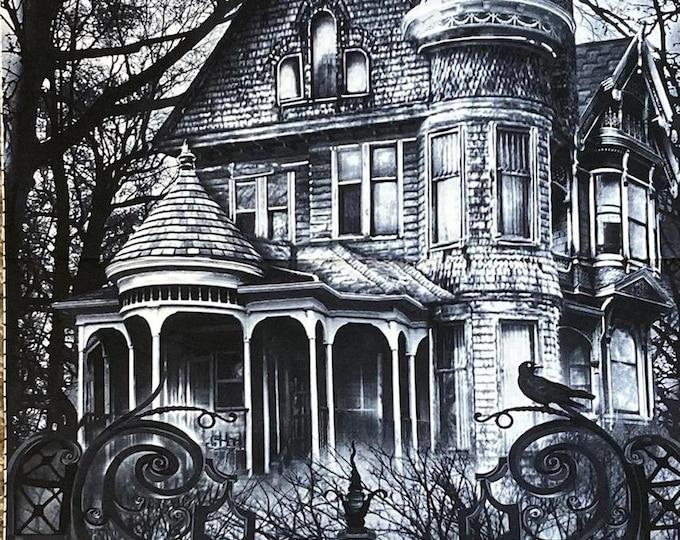 Halloween Fabric Panel, Haunted House Quilt Panel