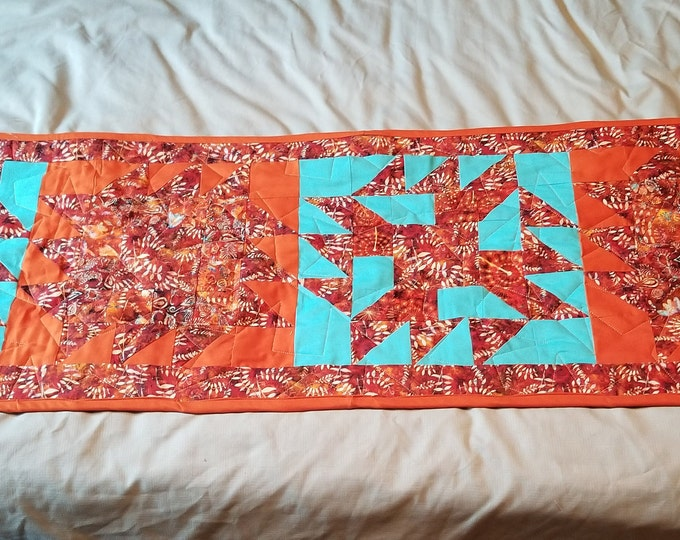 """Sawtooth Table Runner, Quilted Table Runner, 15"""" x 64"""""""
