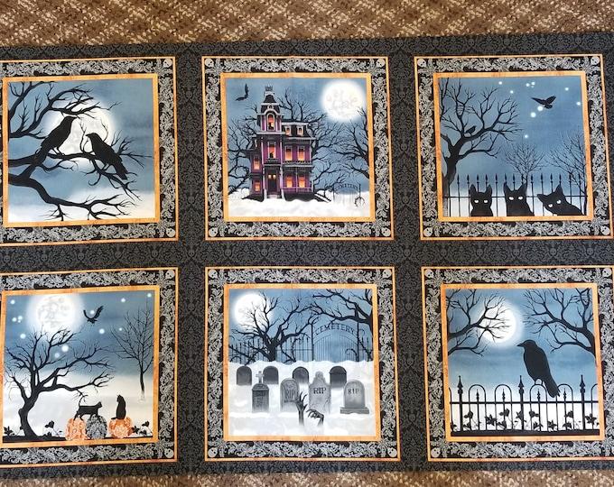 Halloween Fabric Panel, Haunted Night Quilt Panel