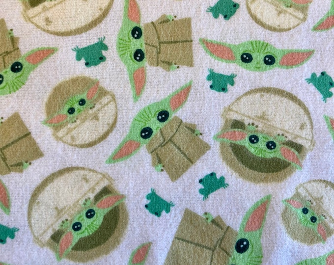 The Child and Frog Flannel, Grogu Quilt Fabric By the Yard