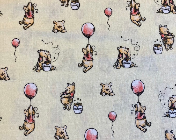 Winnie the Pooh Quilt Fabric, Pooh with Balloon Fabric By the Yard