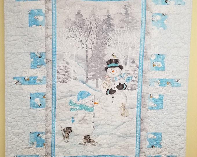 """Homemade Ice Skating Snowmen Quilt, Handmade Snowman Quilt, 46"""" x 62"""""""