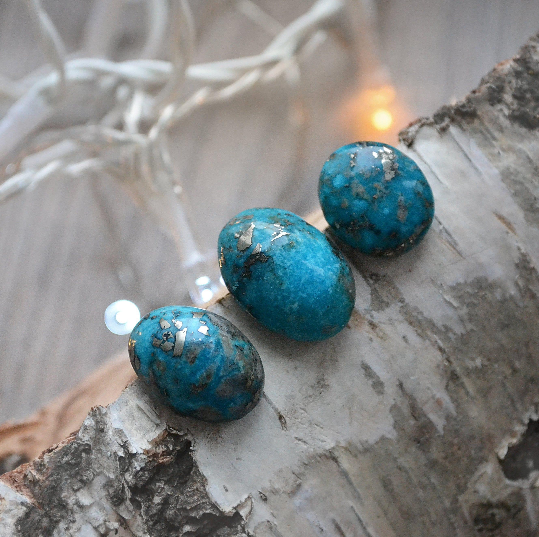 Cabochons Cabochons Cabochons de Turquoise naturelle 3pcs, Turquoise avec pyrite, cabochons de Turquoise, fournitures, pierres Turquoise, Turquoise sertie de fabrication de bijoux f05944