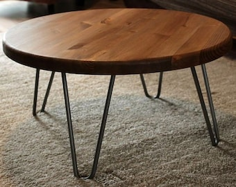 round coffee table mid century hairpin legs large selection of  finish colors FREE Shipping 2aeb352e68