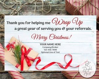 Christmas Holiday Wrap Up Real Estate Printable Referral Pop by Tag, Agent Broker Marketing Wrapping Paper Client Gift Card  Business