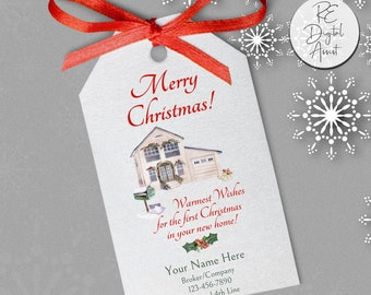 New Home Christmas Real Estate Gift Tag Personalized Home Buyer Printable, Agent Broker Client Appreciation  December Business Pop by